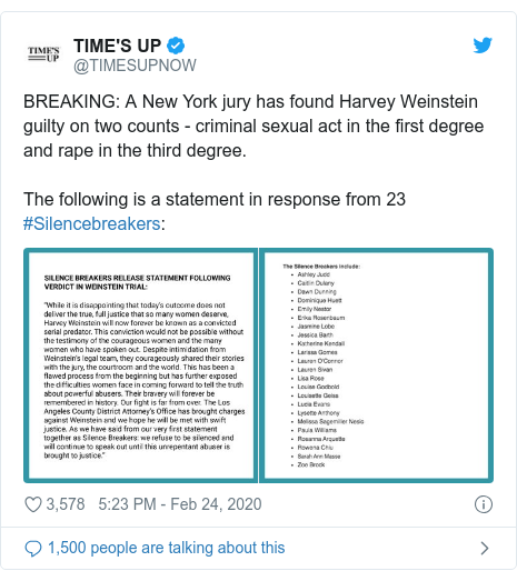 Twitter post by @TIMESUPNOW: BREAKING  A New York jury has found Harvey Weinstein guilty on two counts - criminal sexual act in the first degree and rape in the third degree.The following is a statement in response from 23 #Silencebreakers