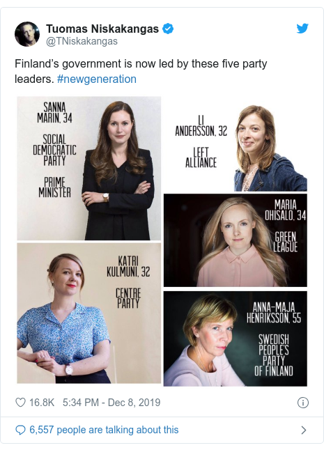 Twitter post by @TNiskakangas: Finland's government is now led by these five party leaders. #newgeneration