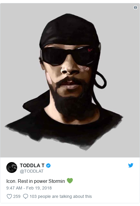 Twitter post by @TODDLAT: Icon. Rest in power Stormin 💚