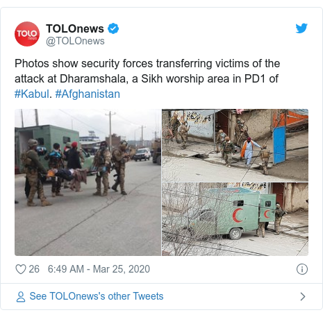 Twitter post by @TOLOnews: Photos show security forces transferring victims of the attack at Dharamshala, a Sikh worship area in PD1 of #Kabul. #Afghanistan