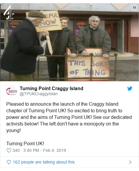 Twitter post by @TPUKCraggyIslan: Pleased to announce the launch of the Craggy Island chapter of Turning Point UK! So excited to bring truth to power and the aims of Turning Point UK! See our dedicated activists below! The left don't have a monopoly on the young!Turning Point UK!