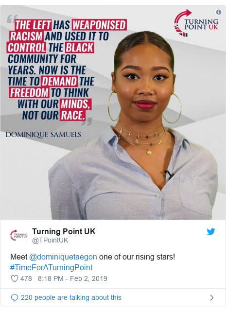 Twitter post by @TPointUK: Meet @dominiquetaegon one of our rising stars! #TimeForATurningPoint