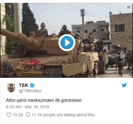 Twitter post by @TSKGnkur: Afrin şehir merkezinden ilk görüntüler.