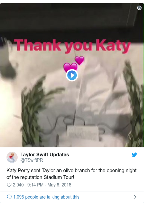 Twitter post by @TSwiftPR: Katy Perry sent Taylor an olive branch for the opening night of the reputation Stadium Tour!