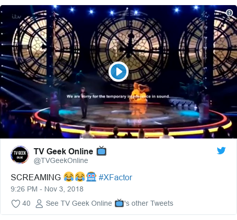 Twitter post by @TVGeekOnline: SCREAMING 😂😂🤖 #XFactor