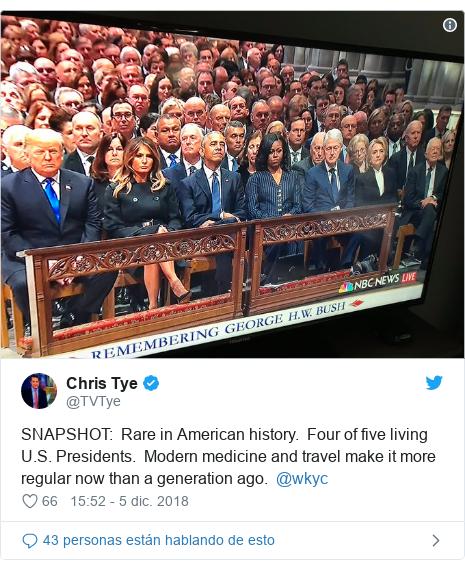 Publicación de Twitter por @TVTye: SNAPSHOT   Rare in American history.  Four of five living U.S. Presidents.  Modern medicine and travel make it more regular now than a generation ago.  @wkyc
