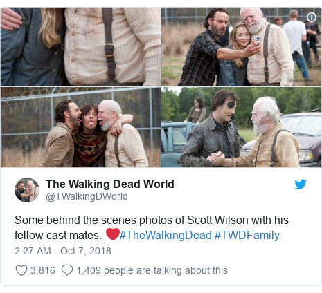 Twitter post by @TWalkingDWorld: Some behind the scenes photos of Scott Wilson with his fellow cast mates. ❤️#TheWalkingDead #TWDFamily