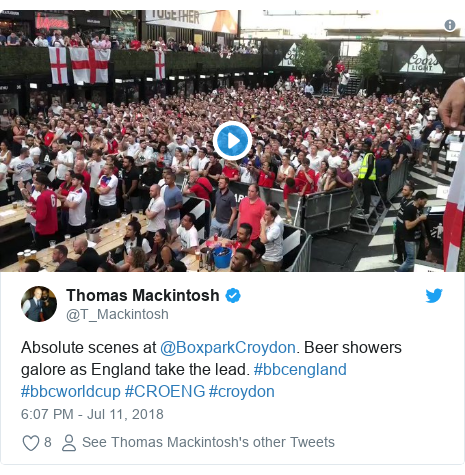 Twitter post by @T_Mackintosh: Absolute scenes at @BoxparkCroydon. Beer showers galore as England take the lead. #bbcengland #bbcworldcup #CROENG #croydon