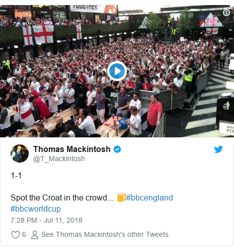 Twitter post by @T_Mackintosh: 1-1Spot the Croat in the crowd... 🍺#bbcengland #bbcworldcup