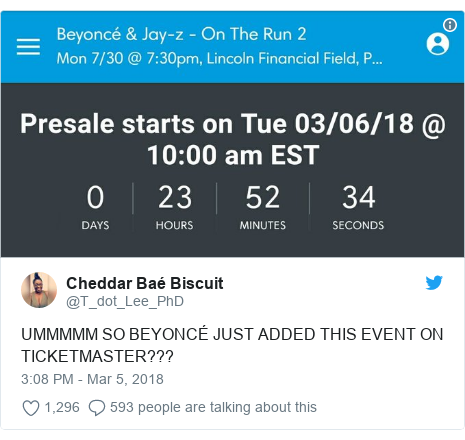 Twitter post by @T_dot_Lee_PhD: UMMMMM SO BEYONCÉ JUST ADDED THIS EVENT ON TICKETMASTER???