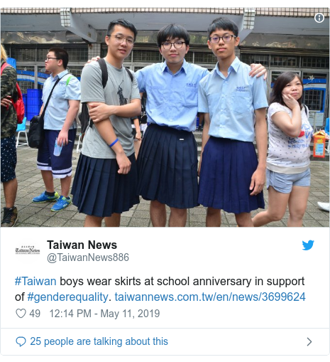 Twitter post by @TaiwanNews886: #Taiwan boys wear skirts at school anniversary in support of #genderequality.