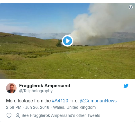 Twitter post by @Tallphotography: More footage from the #A4120 Fire. @CambrianNews