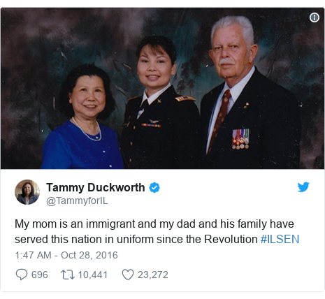 Twitter post by @TammyforIL: My mom is an immigrant and my dad and his family have served this nation in uniform since the Revolution #ILSEN