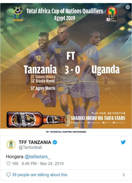 Ujumbe wa Twitter wa @Tanfootball: Hongera @taifastars_
