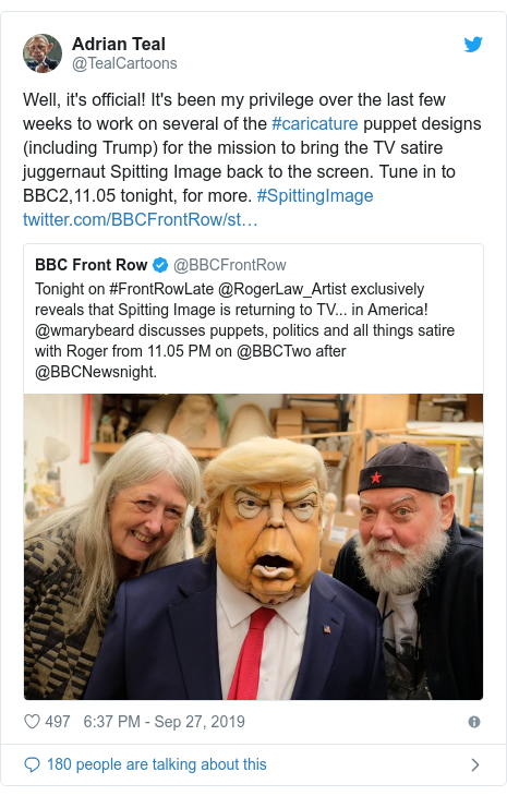 Twitter post by @TealCartoons: Well, it's official! It's been my privilege over the last few weeks to work on several of the #caricature puppet designs (including Trump) for the mission to bring the TV satire juggernaut Spitting Image back to the screen. Tune in to BBC2,11.05 tonight, for more. #SpittingImage