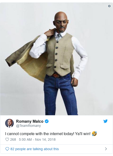 Twitter post by @TeamRomany: I cannot compete with the internet today! Ya'll win! 🤣