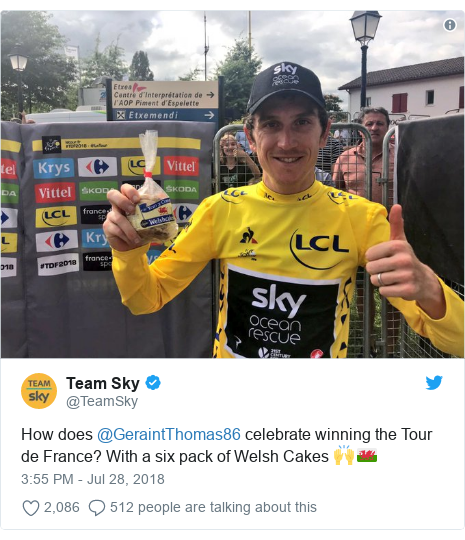 Twitter post by @TeamSky: How does @GeraintThomas86 celebrate winning the Tour de France? With a six pack of Welsh Cakes 🙌🏴