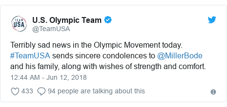Twitter post by @TeamUSA: Terribly sad news in the Olympic Movement today. #TeamUSA sends sincere condolences to @MillerBode and his family, along with wishes of strength and comfort.