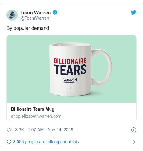 Twitter post by @TeamWarren: By popular demand