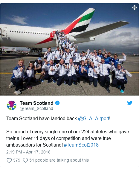 Twitter post by @Team_Scotland: Team Scotland have landed back @GLA_Airport! So proud of every single one of our 224 athletes who gave their all over 11 days of competition and were true ambassadors for Scotland! #TeamScot2018