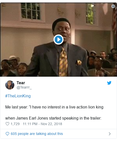 """Twitter post by @Tearrr_: #TheLionKing Me last year  """"I have no interest in a live action lion kingwhen James Earl Jones started speaking in the trailer"""