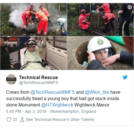 Twitter post by @TechRescueWMFS: Crews from @TechRescueWMFS and @Wton_fire have successfully freed a young boy that had got stuck inside stone Monument @NTWightwick Wightwick Manor
