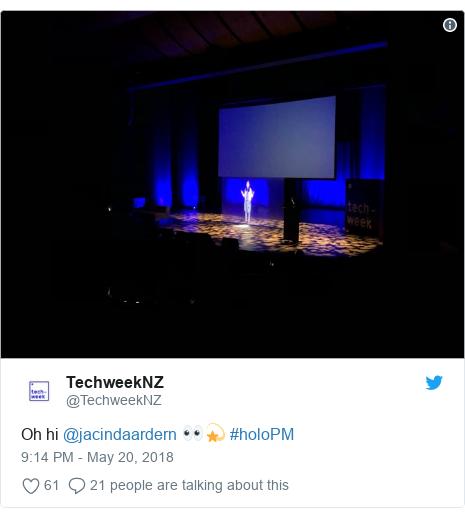 Twitter post by @TechweekNZ: Oh hi @jacindaardern 👀💫 #holoPM