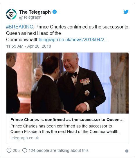 Twitter post by @Telegraph: #BREAKING  Prince Charles confirmed as the successor to Queen as next Head of the Commonwealth