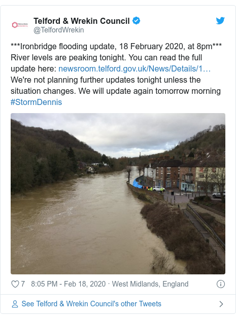 Twitter post by @TelfordWrekin: ***Ironbridge flooding update, 18 February 2020, at 8pm*** River levels are peaking tonight. You can read the full update here   We're not planning further updates tonight unless the situation changes. We will update again tomorrow morning #StormDennis
