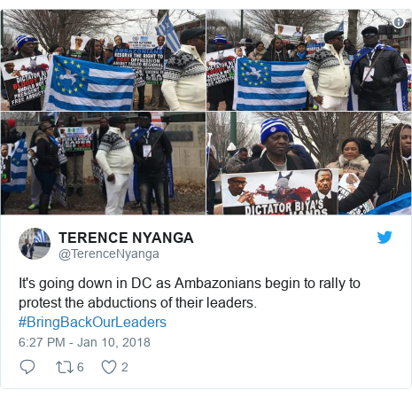 Twitter post by @TerenceNyanga: It's going down in DC as Ambazonians begin to rally to protest the abductions of their leaders. #BringBackOurLeaders