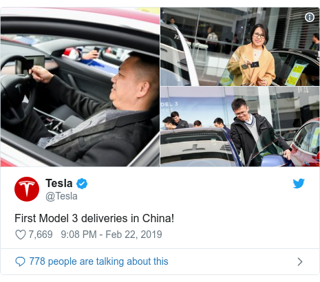 Twitter post by @Tesla: First Model 3 deliveries in China!