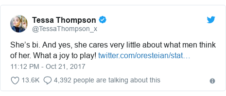 Twitter post by @TessaThompson_x: She's bi. And yes, she cares very little about what men think of her. What a joy to play!