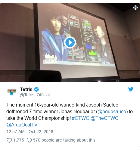 Twitter post by @Tetris_Official: The moment 16-year-old wunderkind Joseph Saelee dethroned 7-time winner Jonas Neubauer (@neubsauce) to take the World Championship! #CTWC @TheCTWC @ArdaOcalTV