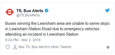 Twitter post by @TfLBusAlerts: Buses serving the Lewisham area are unable to serve stops in Lewisham Station Road due to emergency vehicles attending an incident in Lewisham Station