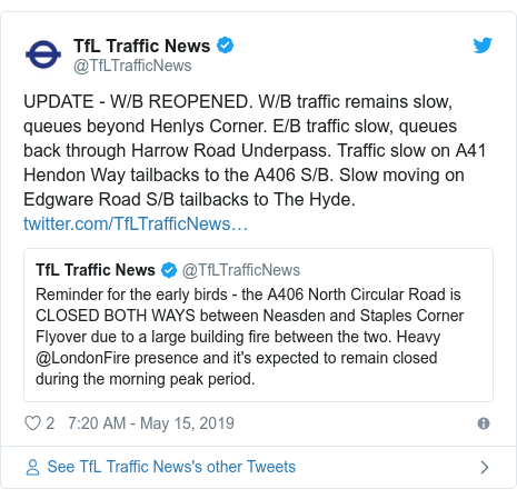 Twitter post by @TfLTrafficNews: UPDATE - W/B REOPENED. W/B traffic remains slow, queues beyond Henlys Corner. E/B traffic slow, queues back through Harrow Road Underpass. Traffic slow on A41 Hendon Way tailbacks to the A406 S/B. Slow moving on Edgware Road S/B tailbacks to The Hyde.