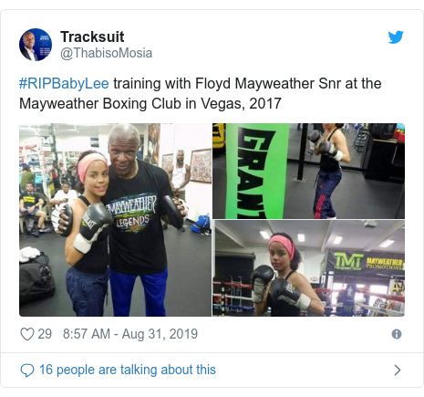Twitter post by @ThabisoMosia: #RIPBabyLee training with Floyd Mayweather Snr at the Mayweather Boxing Club in Vegas, 2017