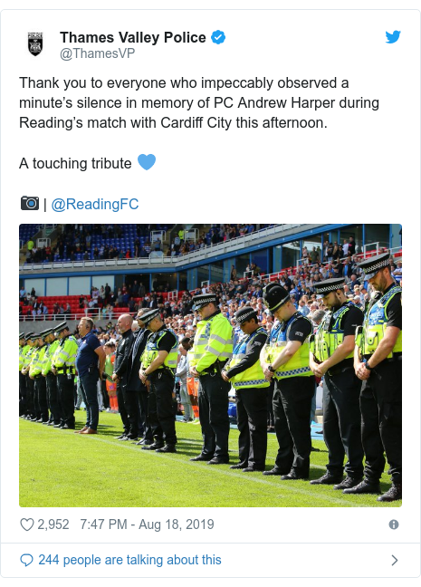 Twitter post by @ThamesVP: Thank you to everyone who impeccably observed a minute's silence in memory of PC Andrew Harper during Reading's match with Cardiff City this afternoon.A touching tribute 💙📷 | @ReadingFC