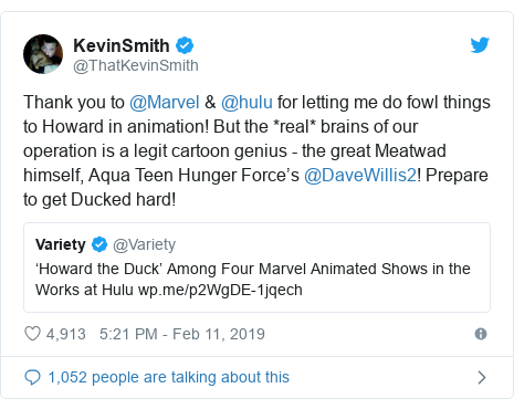 Twitter post by @ThatKevinSmith: Thank you to @Marvel & @hulu for letting me do fowl things to Howard in animation! But the *real* brains of our operation is a legit cartoon genius - the great Meatwad himself, Aqua Teen Hunger Force's @DaveWillis2! Prepare to get Ducked hard!