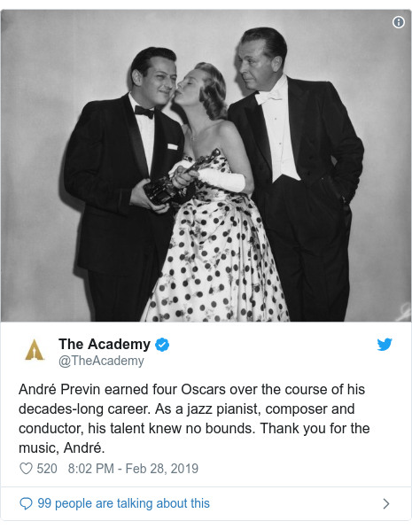 Twitter post by @TheAcademy: André Previn earned four Oscars over the course of his decades-long career. As a jazz pianist, composer and conductor, his talent knew no bounds. Thank you for the music, André.