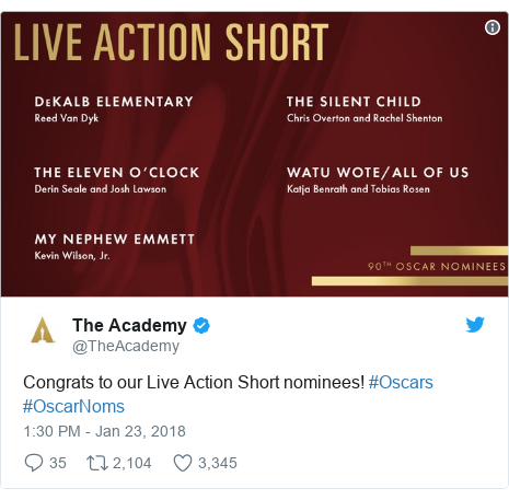 Twitter post by @TheAcademy: Congrats to our Live Action Short nominees! #Oscars #OscarNoms