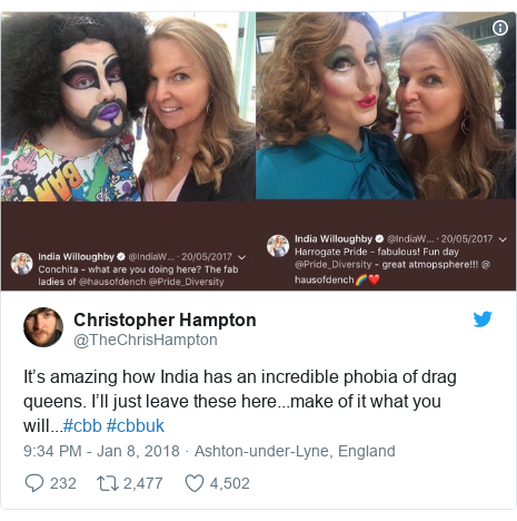 Twitter post by @TheChrisHampton: It's amazing how India has an incredible phobia of drag queens. I'll just leave these here...make of it what you will...#cbb #cbbuk