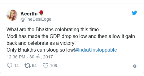 Twitter post by @TheDesiEdge: What are the Bhakths celebrating this time.Modi has made the GDP drop so low and then allow it gain back and celebrate as a victory!Only Bhakths can stoop so low!#IndiaUnstoppable