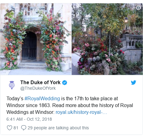 Twitter post by @TheDukeOfYork: Today's #RoyalWedding is the 17th to take place at Windsor since 1863. Read more about the history of Royal Weddings at Windsor