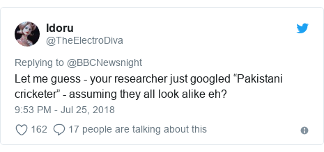 "Twitter post by @TheElectroDiva: Let me guess - your researcher just googled ""Pakistani cricketer"" - assuming they all look alike eh?"