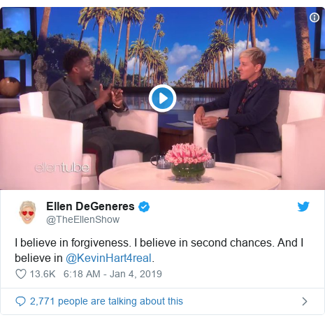Twitter post by @TheEllenShow: I believe in forgiveness. I believe in second chances. And I believe in @KevinHart4real.