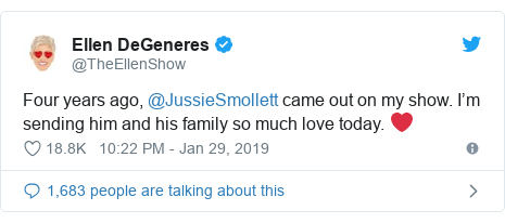 Twitter post by @TheEllenShow: Four years ago, @JussieSmollett came out on my show. I'm sending him and his family so much love today. ❤️