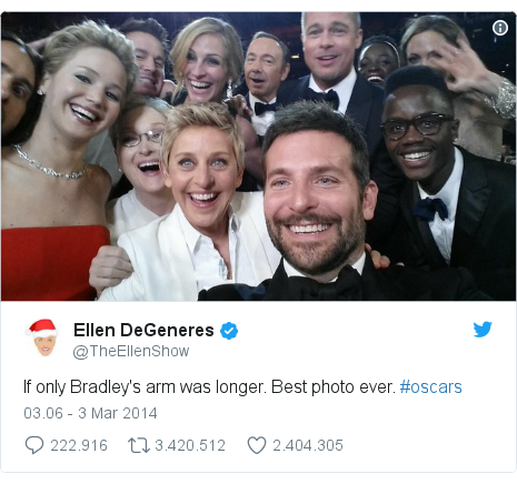 Twitter pesan oleh @TheEllenShow: If only Bradley's arm was longer. Best photo ever. #oscars