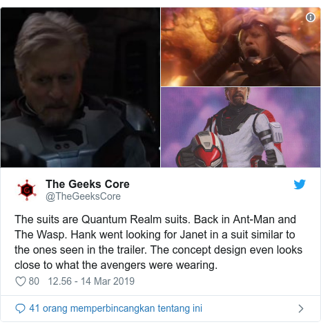 Twitter pesan oleh @TheGeeksCore: The suits are Quantum Realm suits. Back in Ant-Man and The Wasp. Hank went looking for Janet in a suit similar to the ones seen in the trailer. The concept design even looks close to what the avengers were wearing.