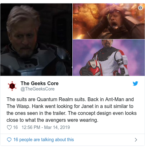 Twitter post by @TheGeeksCore: The suits are Quantum Realm suits. Back in Ant-Man and The Wasp. Hank went looking for Janet in a suit similar to the ones seen in the trailer. The concept design even looks close to what the avengers were wearing.