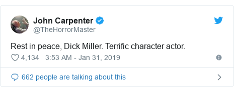 Twitter post by @TheHorrorMaster: Rest in peace, Dick Miller. Terrific character actor.